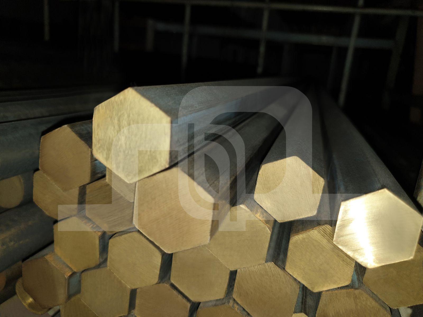 Unpeeled Brass Haxegon Rod